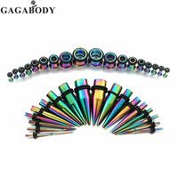 Silver Colorful Ear Gauges Kit 36 Pieces Stainless Steel Tapers With Plugs Ear Rings 14G 00G