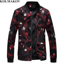 KOLMAKOV 2019 новые весенние для мужчин s курточка бомбер мужской дизайнер с цветочным принтом Slim Fit пальто костюмы плюс размеры 6XL куртк