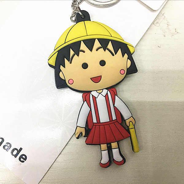 Chibi Maruko Anime İki taraflı Anahtarlık El Yapımı PVC şekil Sevimli Anahtarlık 2018 Cute süsleme