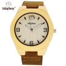 IBigboy Bambú De Madera Relojes de Los Hombres Correa de Cuero Japón Marca de Relojes Retro de Cuarzo de Los Hombres Reloj de Pulsera de Regalo De Madera Blanca Para padre