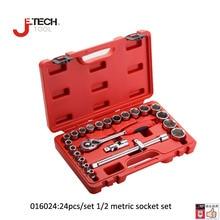 Jetech 24 in 1 CRV Cr.mo 1/2″DR metric socket set kit ferramenta car repair tools cold forging lifetime guarantee