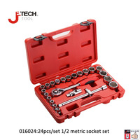 Jetech 24 in 1 CRV Cr.mo 1/2DR metric socket set kit ferramenta car repair tools cold forging lifetime guarantee