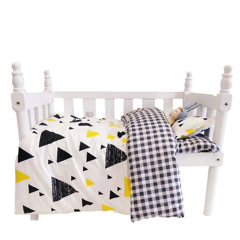 100% cotton 3 pcs/set crib bedding set Geometric baby bedding set include pillowcase bed sheet duvet cover without filling stylish green geometric vector pattern square shape flax pillowcase without pillow inner
