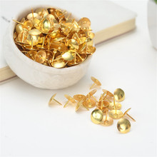 100pcs/box Gold Color Metal Thumb Tack Bulletin Board Message Paper Push Pins Lists Fixed Push Needle Pins Office Bind Supplies