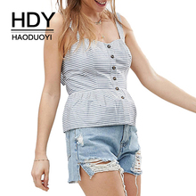 HDY Haoduoyi Summer Casual Blue Stripe Strap Cool Camisole Sleeveless Backless Bowknot Back Single Breasted Slim Tank on Beach