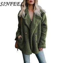 цены на SINFEEL Winter Black Wool Overcoat Warm Outerwear Faux Fur Women Coat Turn Down Collar Long Sleeve Cardigan Female Outwear  в интернет-магазинах