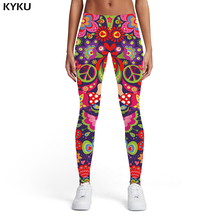 KYKU Flower Leggings Women Colorful Leggins Retro Sport Art Spandex Gothic 3d Print Womens Pants Jeggings Slim Skinny