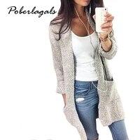 2016 Autumn Winter Fashion Women Long Sleeve Loose Knitting Cardigan Cardigan Sweater Womens Knitted Female Cardigan