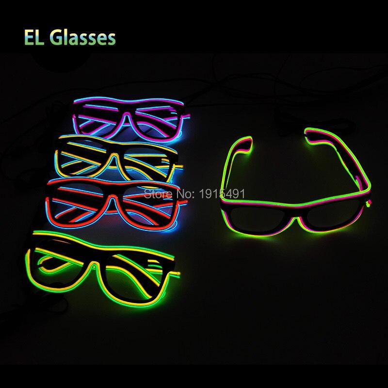Music Sensitive DC3V 20pcs Led Strip Neon Thread Camouflage Sunglasses Birthday Twin-Linear Illuminated Eyewear for Carnival