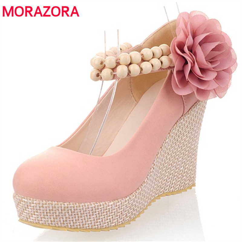 MORAZORA Shallow round toe platform shoes PU high heels 9cm wedges shoes solid spring autumn women pumps party shoes sweet morazora fashion 2017 women pumps thick heels platform spring single shoes woman high heels round toe party wedding shoes