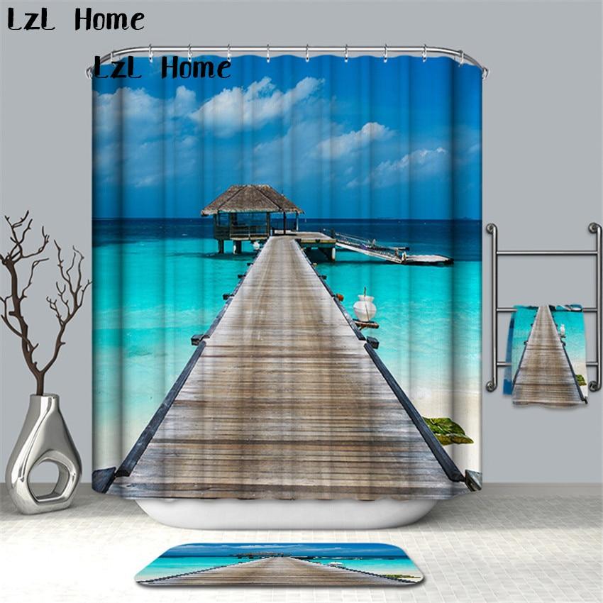 LzL Home 3D Waterfall Scenery Waterproof Shower Curtain Bathroom Products Creative Polyester Bath Curtain Cortina De Bano Hooks zwbra shower curtain