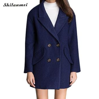 2018 Autumn Winter Fashion Women Coat Turn Down Collar Long Sleeve Outerwear Solid Warm Overcoat Casaco Feminino Female Clothing