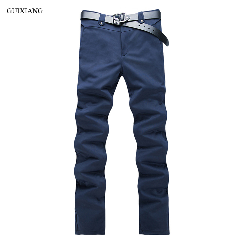 New style Men leisure pants fashion casual high-quality solid long trousers men's slim zippers straight pants plus size 28-38