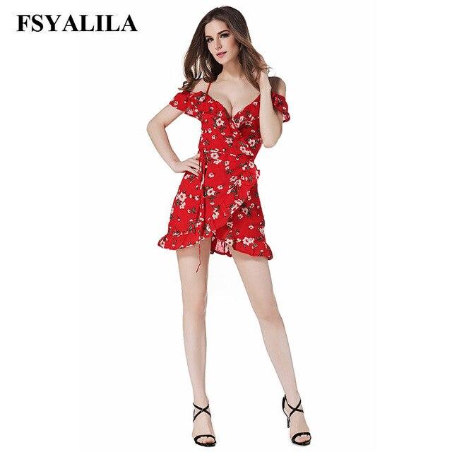 787a44fb3d43 Sexy Chiffon Mini Dress Off Shoulder Flower Print V Neck Summer Beach Dress  Holiday Casual Red Vestido Women Ruffle Sashes 2018