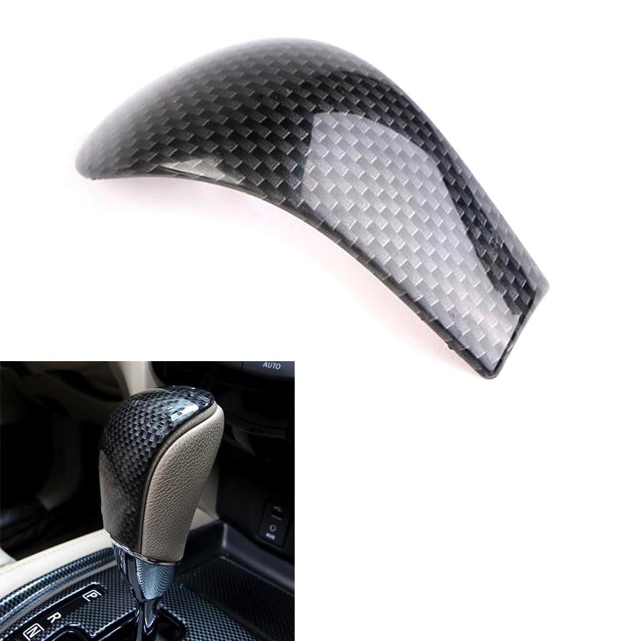 YAQUICKA Carbon Fiber Style Car Interior Gear Shift Knob Head Cover Trim Sticker Moulding For Nissan X-trail Rogue T32 2014-2017 cool skull style resin car gear shift knob blue