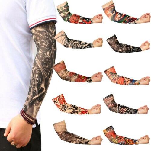 HOT Skeleton Fake Tattoo Nylon Elastic Arm Sun Protection Sleeve Cycling Sports