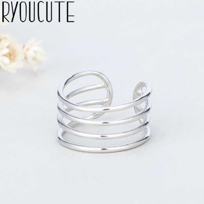 Punk Retro Real 925 Sterling Silver Multi-layer Big Rings for Women Bohemian Vintage Statement Jewelry Antique Finger Big Ring