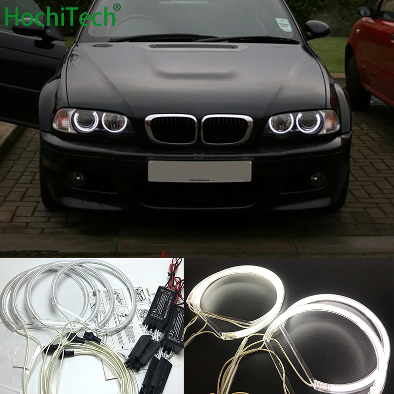 HochiTech for BMW 98-03 pre-facelift E46 coupe cabrio with PROJECTORS car styling CCFL Angel Demon Eyes Kit Warm White Halo Ring hochitech white 6000k ccfl headlight halo angel demon eyes kit angel eyes light for vw volkswagen golf 5 mk5 2003 2009