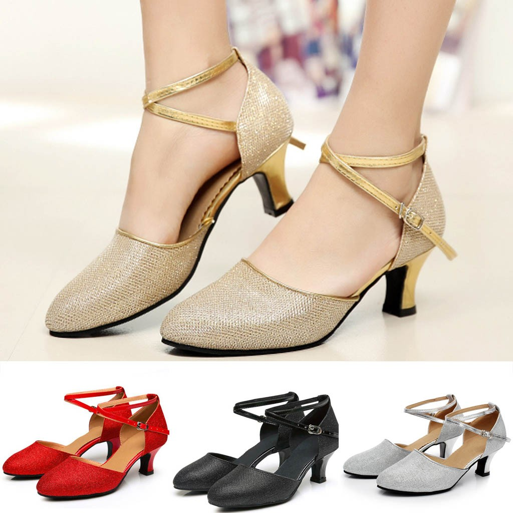 Middle Heels Heels Humorous Womens Ballroom Tango Latin Salsa Black Silver Gold Red Multicolor Dancing Shoes Sequins Shoes Social Dance Shoe Soft Bottom Bracing Up The Whole System And Strengthening It