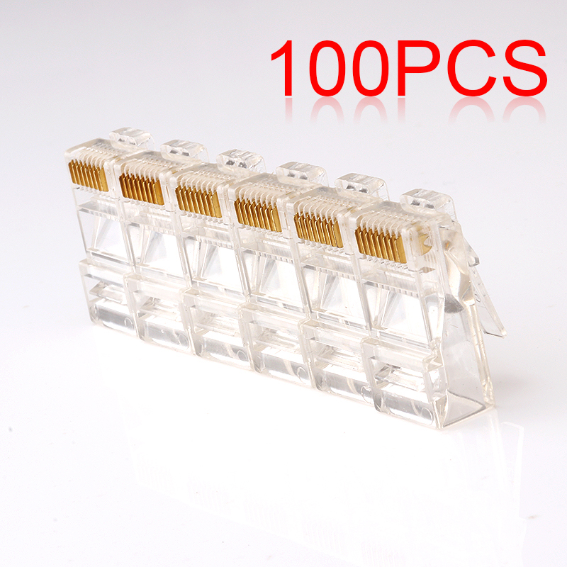 100Pcs/lot RJ45 8P8C Network Cable CAT5E Cat6 Connector Crimp Plug network socket hr 911105 c brand new goods in stock network transformer 59 8 p 8 c bring lamp bring shrapnel rj 45