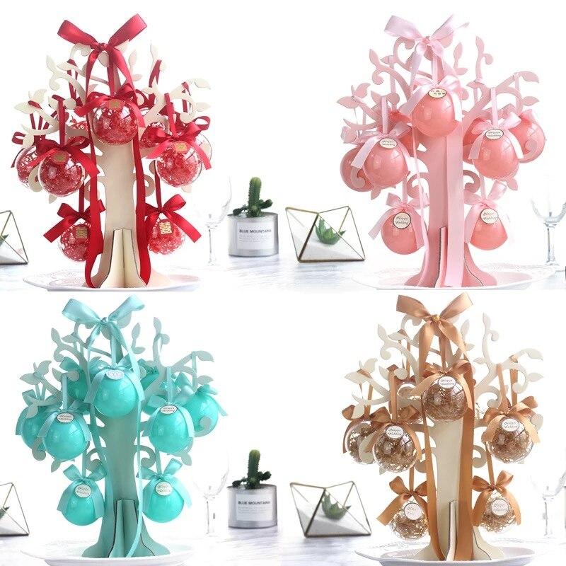 10 pièces lot bricolage en plastique rond nuptiale douche fête bonbons boîte chocolat détenteurs faveur boîtes de mariage