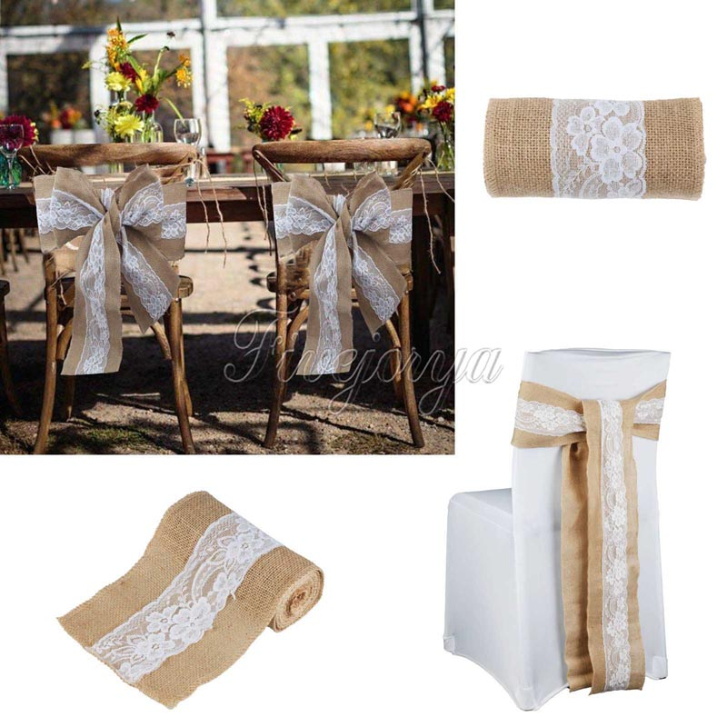 1Piece Wedding Burlap Chair Sashes Lace Hessian Jute Burlap Chair Sash Bow  For Wedding Party Baby Shower Home Decor 15cm X 240cm In Sashes From Home  ...