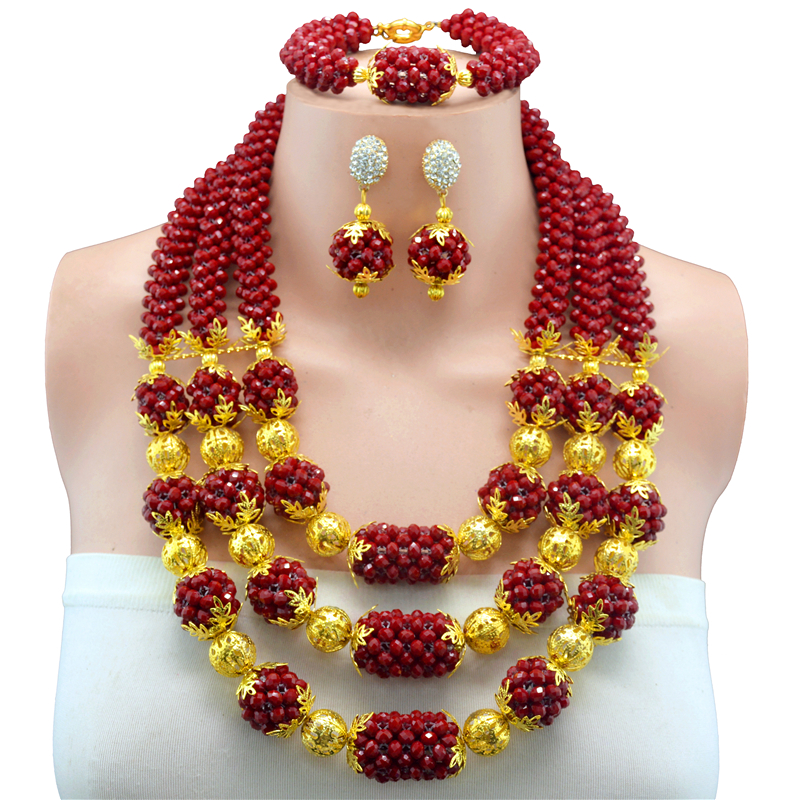 Bridal Jewelry Sets Dark Red Nigerian Wedding African Beads Jewelry Set Crystal Women New Necklace Set Free Shipping