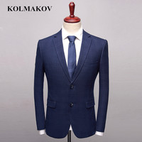 KOLMAKOV Men's Blazers 2019 New Fashion Dark Blue Blazer Hombre Smart Casual Suit Jackets Slim Fit Classic Blazer Male S 3XL
