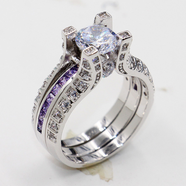 2-in-1 Victoria Wieck Vintage Jewelry Amethyst 5ct simulated diamond 10KT White Gold Filled Engagement Wedding Band Ring set