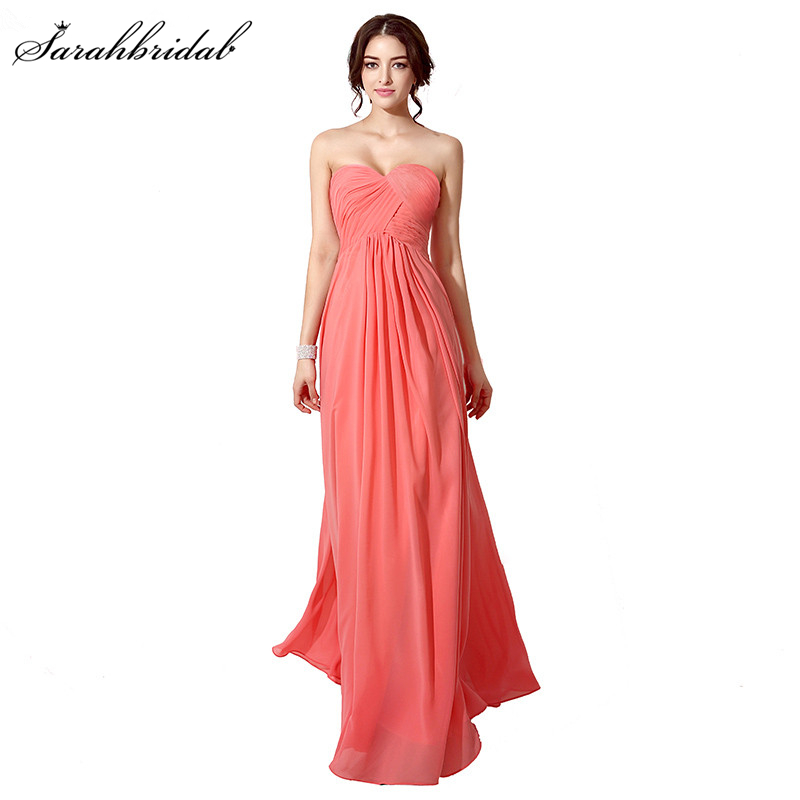 In Stock 6 Colors Elegant A-Line Pleated Chiffon   Bridesmaid     Dresses   Fashionable Sweetheart Long   Bridesmaid     Dresses   SD182