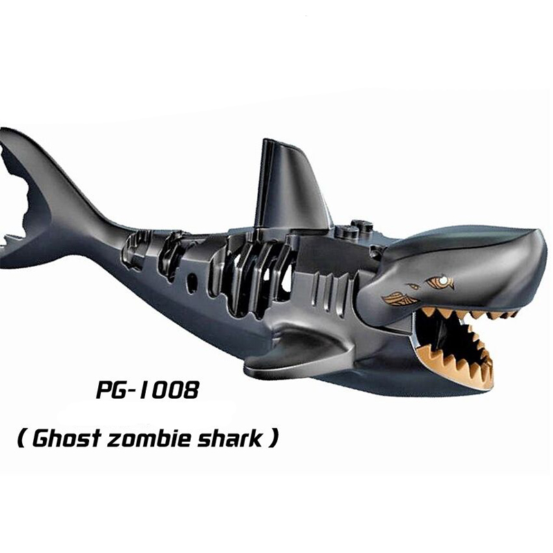 Zombie Shark Figure Set Pirates of the Caribbean Bricks Building Blocks Kid Toys
