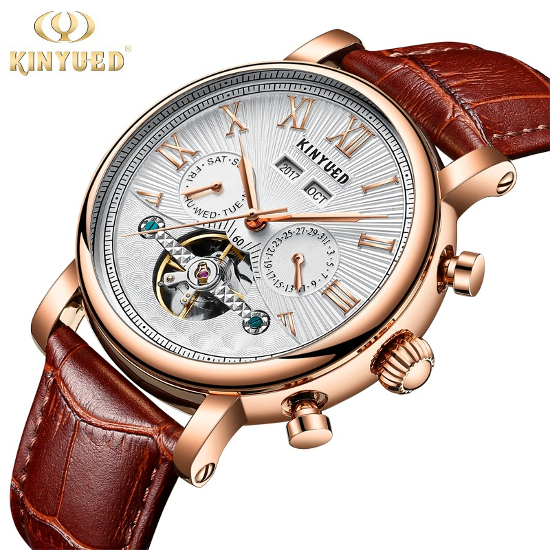 Kinyued Skeleton Tourbillon Mechanical Watch Automatic Men Classic Male Gold Dial Leather Mechanical Wrist Watches J022P-1 цена