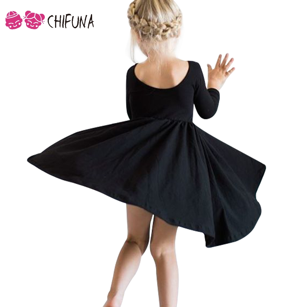 chifuna Fashion Summer Girls Dress Solid Long Sleeve 1 4Yrs Kids Dresses for Girls Baby Costume