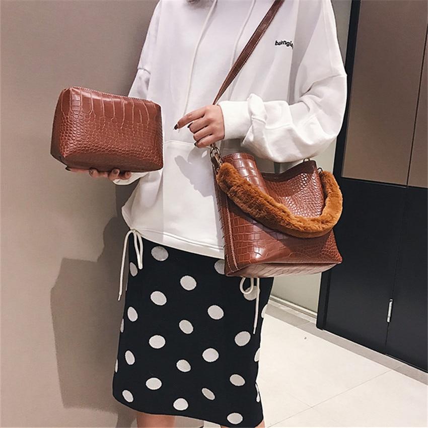 Women Top-Handle Handbag Alligator Leather Ladies Messenger Bags Soft Fur Strap Shoulder Bags Bucket Composite Bag