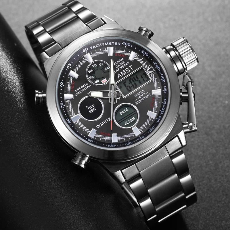 New Famous Luxury Brand Men Waterproof Full Steel Watches Men's Quartz Analog LED Clock Male Sport Wrist Watch Relogio Masculino
