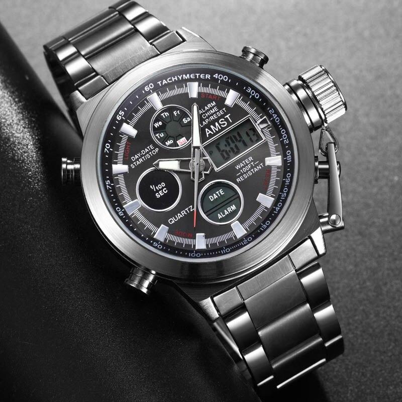 Часы мужские, спортивные, кварцевые, аналоговые, водонепроницаемые, со светодиодной подсветкой Спортивные часы      АлиЭкспресс