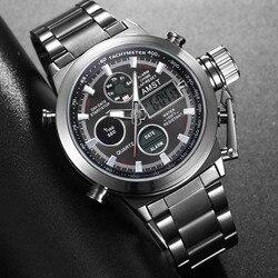 Novo famoso marca de luxo dos homens à prova dwaterproof água aço completo relógios quartzo analógico led relógio masculino esporte relógio de pulso relogio masculino
