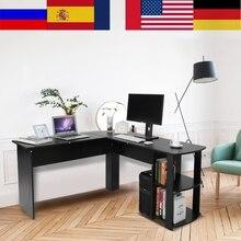 Bilgisayar masası ahşap ofis bilgisayar yazı masası ev oyun PC mobilya L şekli köşe çalışma bilgisayar masası ile kitap rafı