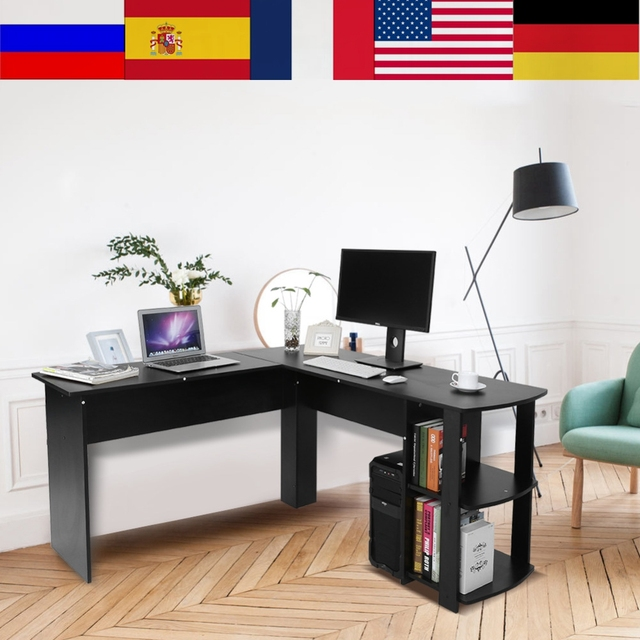 Máy tính Để Bàn Gỗ Văn Phòng Máy Tính Bàn Viết Nhà Chơi Game Furnitur L Hình Góc dùng Máy Tính Bàn Với Quyển Sách kệ
