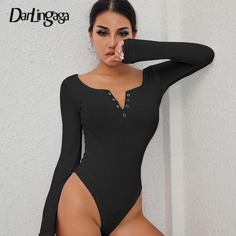 Darlingaga Autumn winter sexy black bodysuits skinny buttons long sleeve bodysuit women shirt 2019 fashion body mujer jumpsuits