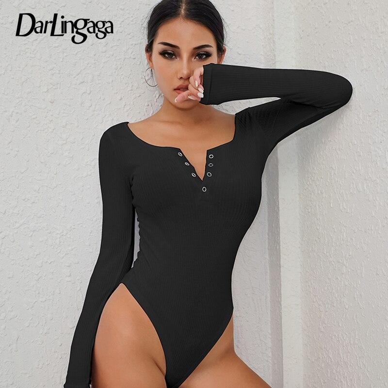 Женские облегающие боди Darlingaga, черные облегающие боди с длинными рукавами и пуговицами на осень зиму, 2019| | - AliExpress