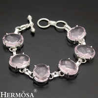Faceted Oval Pink Kunzite SPECIALS SALE Sweet Lady Jewelry 925 Sterling Silver Chain Links Bracelet 7