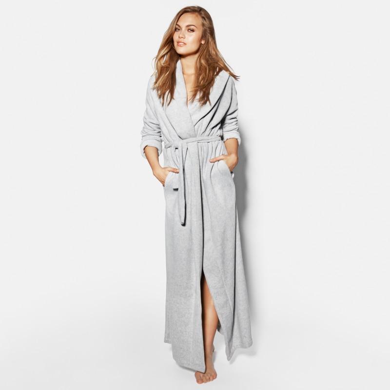 a822b7aa9d Women s Long Robes Microfiber Fleece Floor Length Plus Sizes Bathrobs Sleepwear  Loungewear Night Gown Pajamas Nightdress