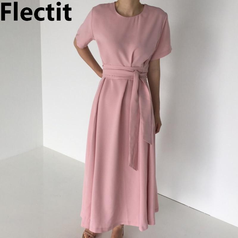 Flectit Dusky rose bleu blanc Maxi robe avec ceinture à nouer manches courtes larges longues robes femmes caftans été tenue décontractée *
