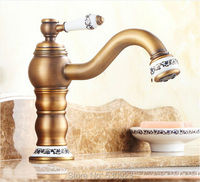 Newly Retro Style Antique Brass Bathroom Sink Bain Faucet Mixer Tap Solid Brass Single Ceramics Handle Single Hole Deck Mounted