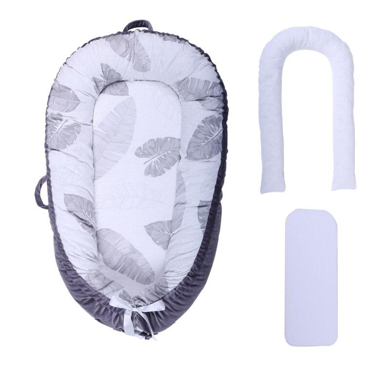 [Полностью разборный] детский шезлонг для новорожденного, двусторонняя переносная кроватка для сна - Цвет: Gray leaves