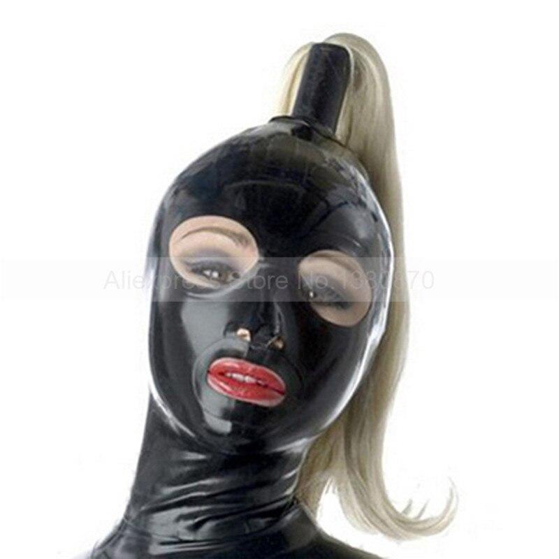 Латекс капот резиновые фетиш маска открытым ртом и глаза с шиньон S-LM009