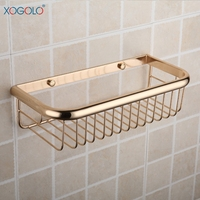 Xogolo Copper Gold Plated Rectangle Single Tier Glass Shelf For Bathroom Luxury Shower Basket Accessories Good Quality