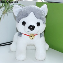 stuffed toy cartoon squatting dog cute husky plush toy large 44cm gray husky soft doll throw pillow birthday gift s0477