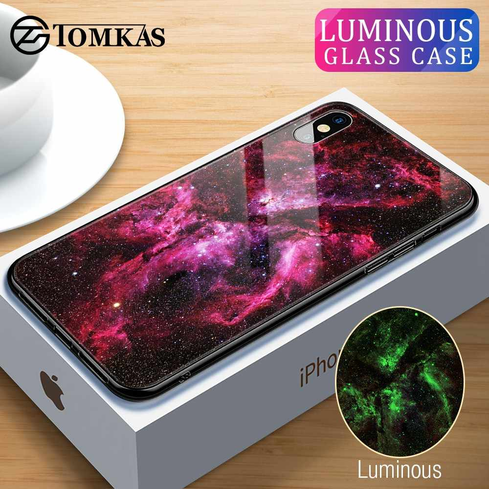 TOMKAS Luminous Luxury Case for iPhone X Xs Max Xr Glass Phone Cover Silicone Case for iPhone 7 8 Plus Cases for iPhone 6 S 6s